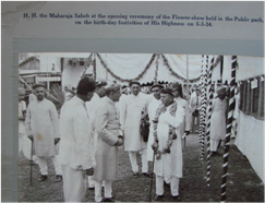 His Highness Maharaja Sayajirao at the opening ceremony of the flower show held in  public park on 5-3-34